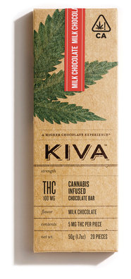 Kiva Milk Chocolate Bar ~ 100mg Image