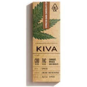 Kiva Espresso Dark Chocolate CBD Bar Image